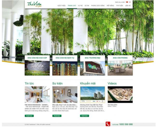 Mẫu thiết kế website trong lĩnh vực Bất động sản.