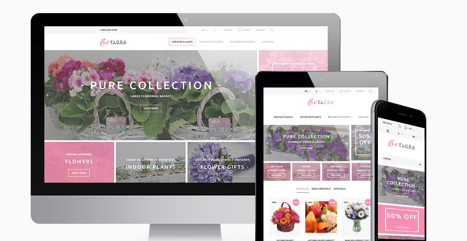 Thiết kế web bán hoa tương thích thiết bị di động
