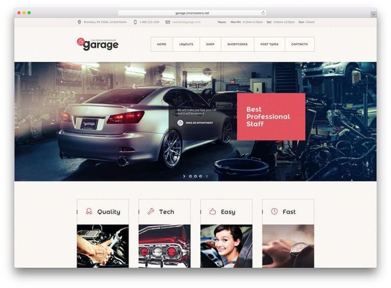 Mẫu website kinh doanh ô tô garage