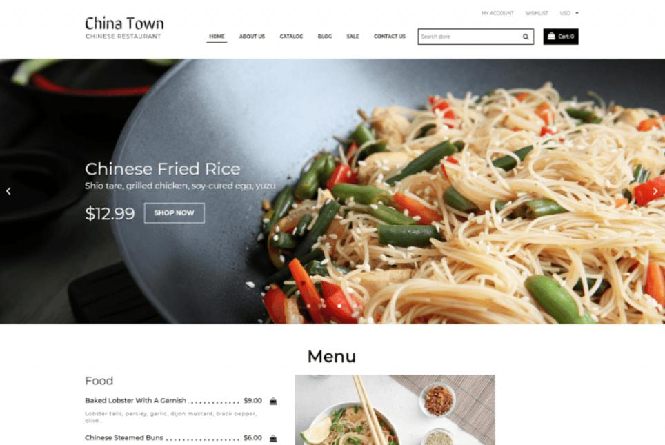 giao diện mẫu thiết kế website khách sạn - nhà hàng China Town – Sushi Restaurant Shopify