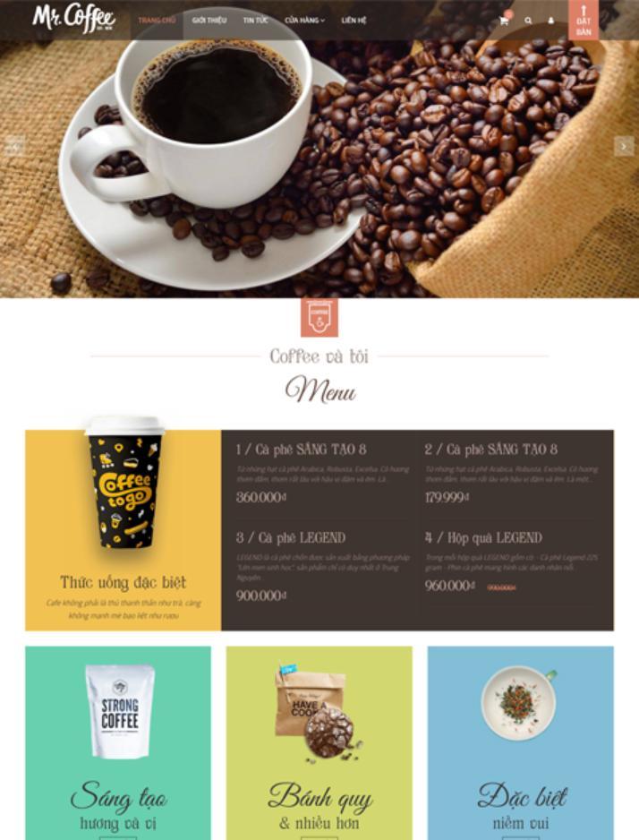 giao diện mẫu lập trình web nhà hàng Coffee and You
