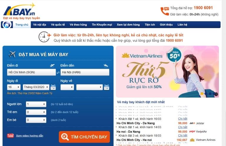 tạo website bán vé máy bay