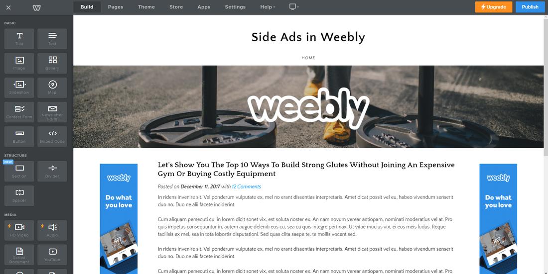 Công cụ tự thiết kế web Weebly
