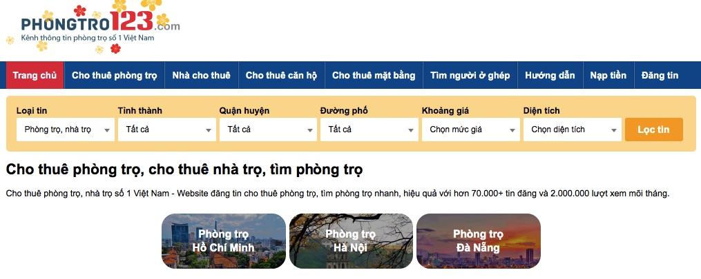 Phongtro123 là website đăng tin cho thuê phòng trọ hàng đầu