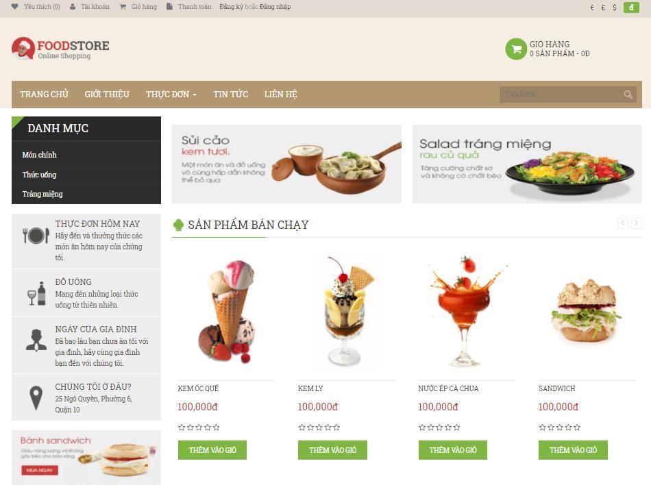 giao diện mẫu thiết kế web nhà hàng Foodstore
