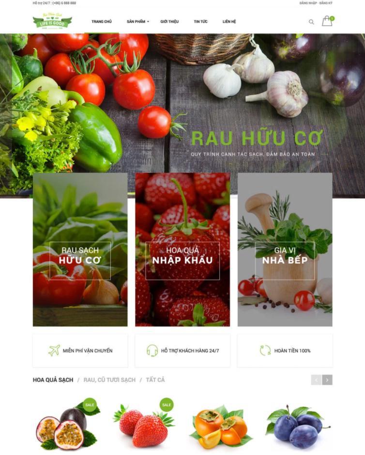 giao diện mẫu website nhà hàng Life is good