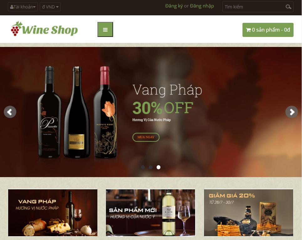 giao diện mẫu web nhà hàng đẹp Wineshop